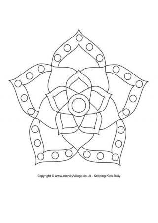 Rangoli Colouring Pages | Diwali | Pinterest | Mandalas, Bordado y ...