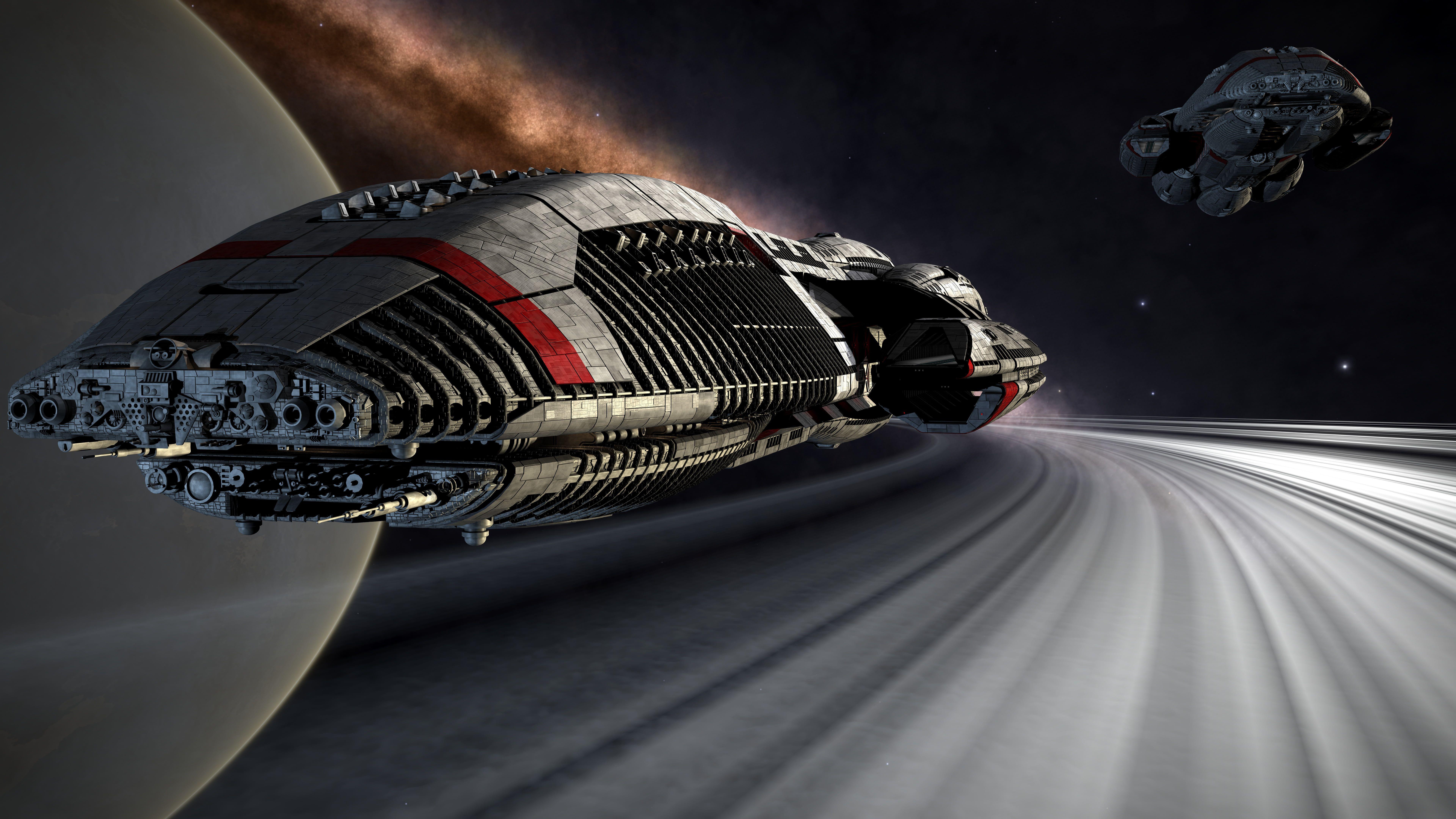 Gray Spaceship Science Fiction Futuristic Battlestar Galactica Digital Art Artwork 3d Render Space 8k Space Art Wallpaper Battlestar Galactica Wallpaper