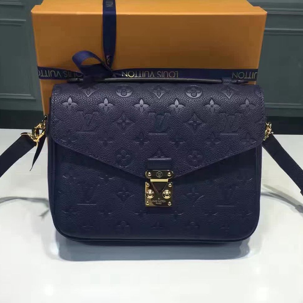 Louis Vuitton Monogram Empreinte Leather Pochette Metis Bag Royal Blue 2ae7e70862f78