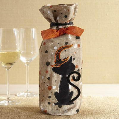 Cat Fabric Wine Bag Halloween crafts and projects Pinterest