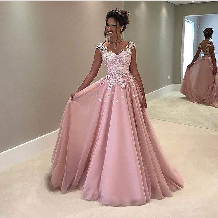 Sexy A-Line Prom Dress V-Neck Lace Tulle Princess | Paris\' prom ...