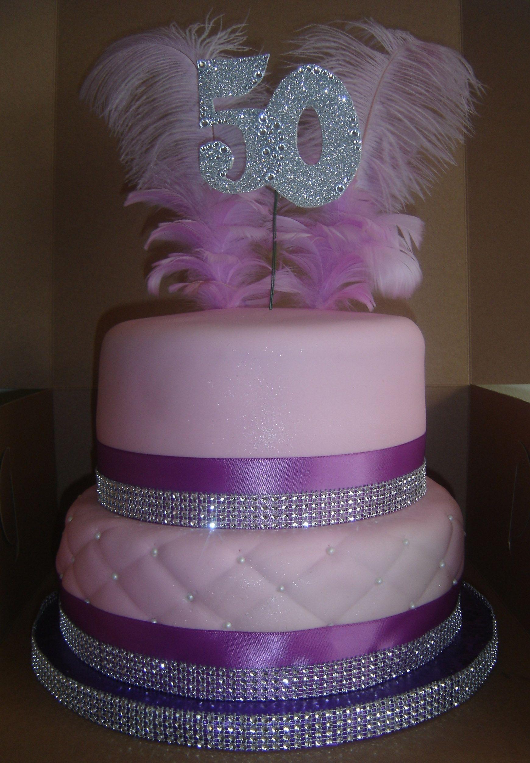 2 Tier 50th Bling Birthday Cake Top Tier Red Velvet And Bottom