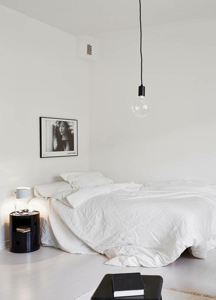 Black And White Minimal Bedroom Linen Floor Simple Hanging Light Interiors