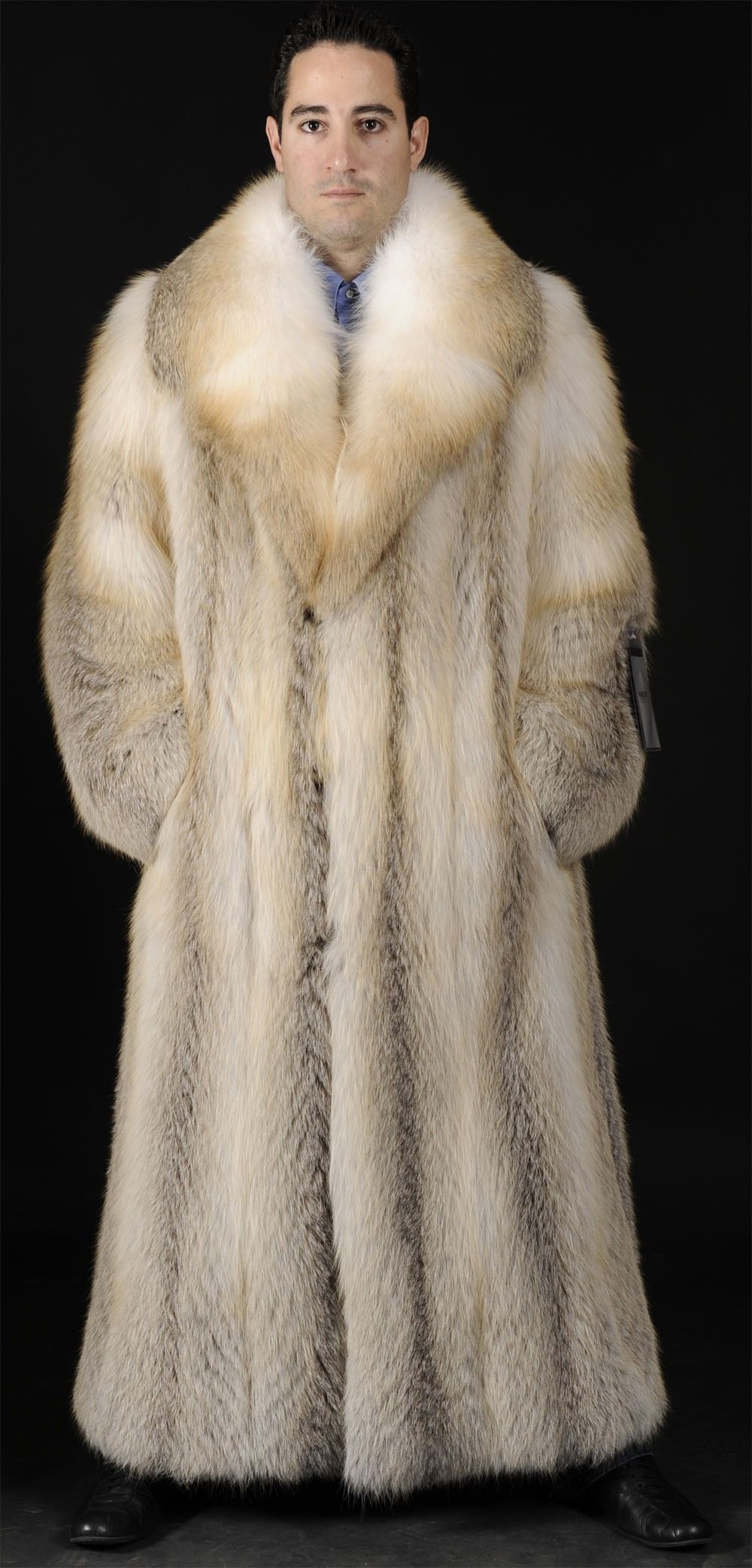 Mens Golden Island Full Length Feathered Fox Fur Coat | fur coats ...