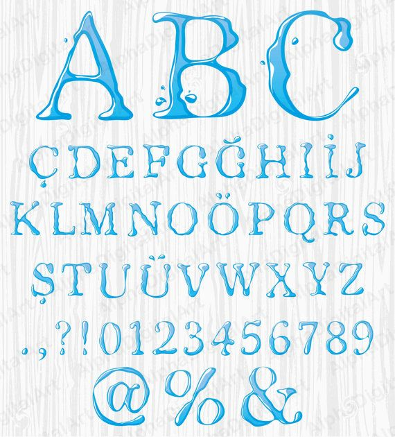 49 Blue Water Alphabet Watercolor Font Colorful Letters