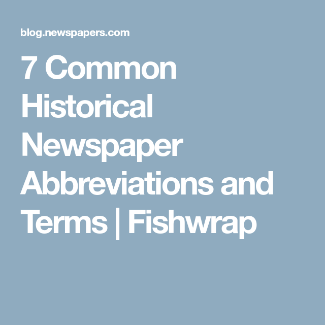 newspaper abbreviations
