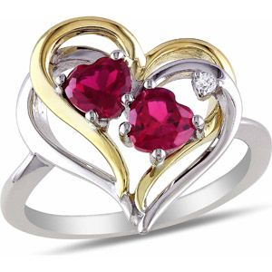 1-1/6 Carat T.G.W. Created Ruby and Diamond-Accent Two-Tone Sterling Silver Double Heart Ring