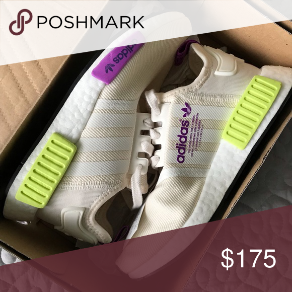 544d0a56afebf Adidas NMD R1 Boost Off White Neon Purple D96626 Brand new