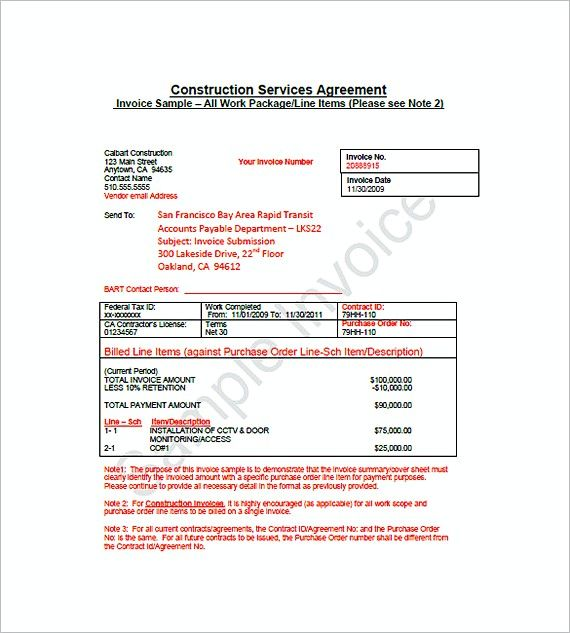 construction billing invoice templates , Construction Invoice - purchase order agreement template