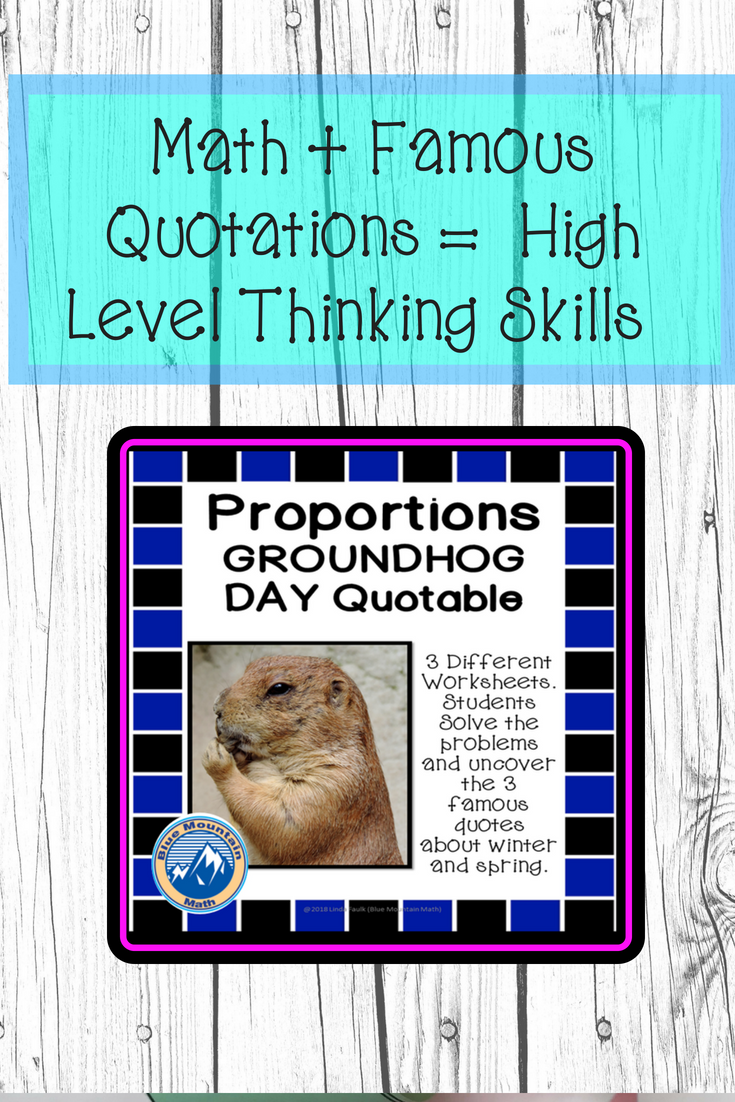 Solving Proportions Groundhog Day Quotable   Algebra Solving ...