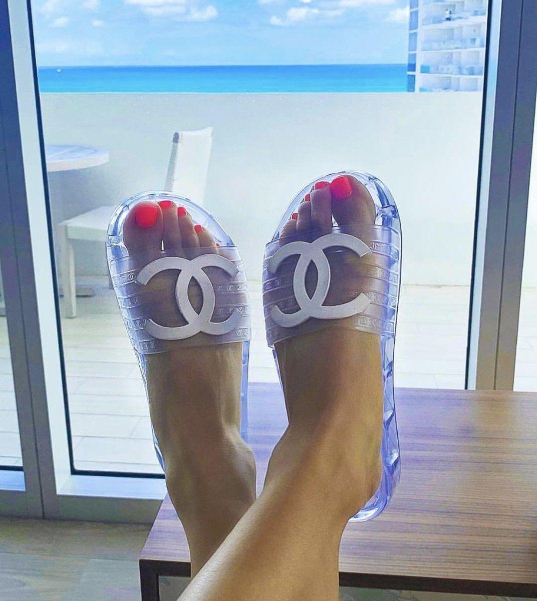 Chanel slides, Jelly slides, Chanel sandals