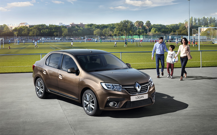 Download Wallpapers Renault Logan 2018 Brown Sedan Exterior New Brown Logan French Cars Renault Besthqwallpapers Com Logan Carros Carros Da Disney