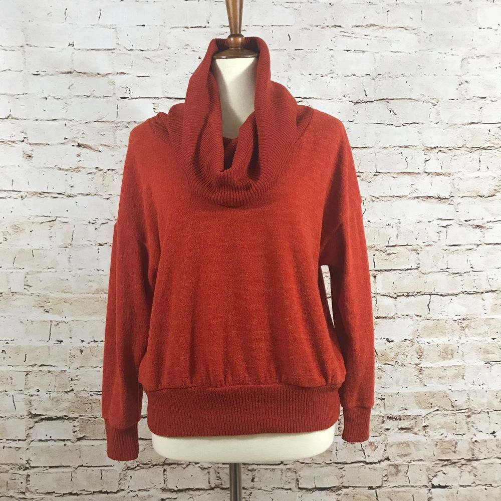 Lune Moire Womens Burnt Orange Cowl Neck Sweater Size Large