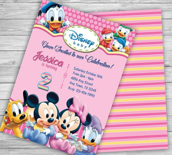 Disney Babies Baby Minnie Personalized Birthday Invitations – Personalized Disney Birthday Invitations