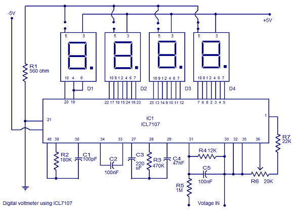 Digital Voltmeter using ICL7107. | Electronic Circuits | Pinterest ...