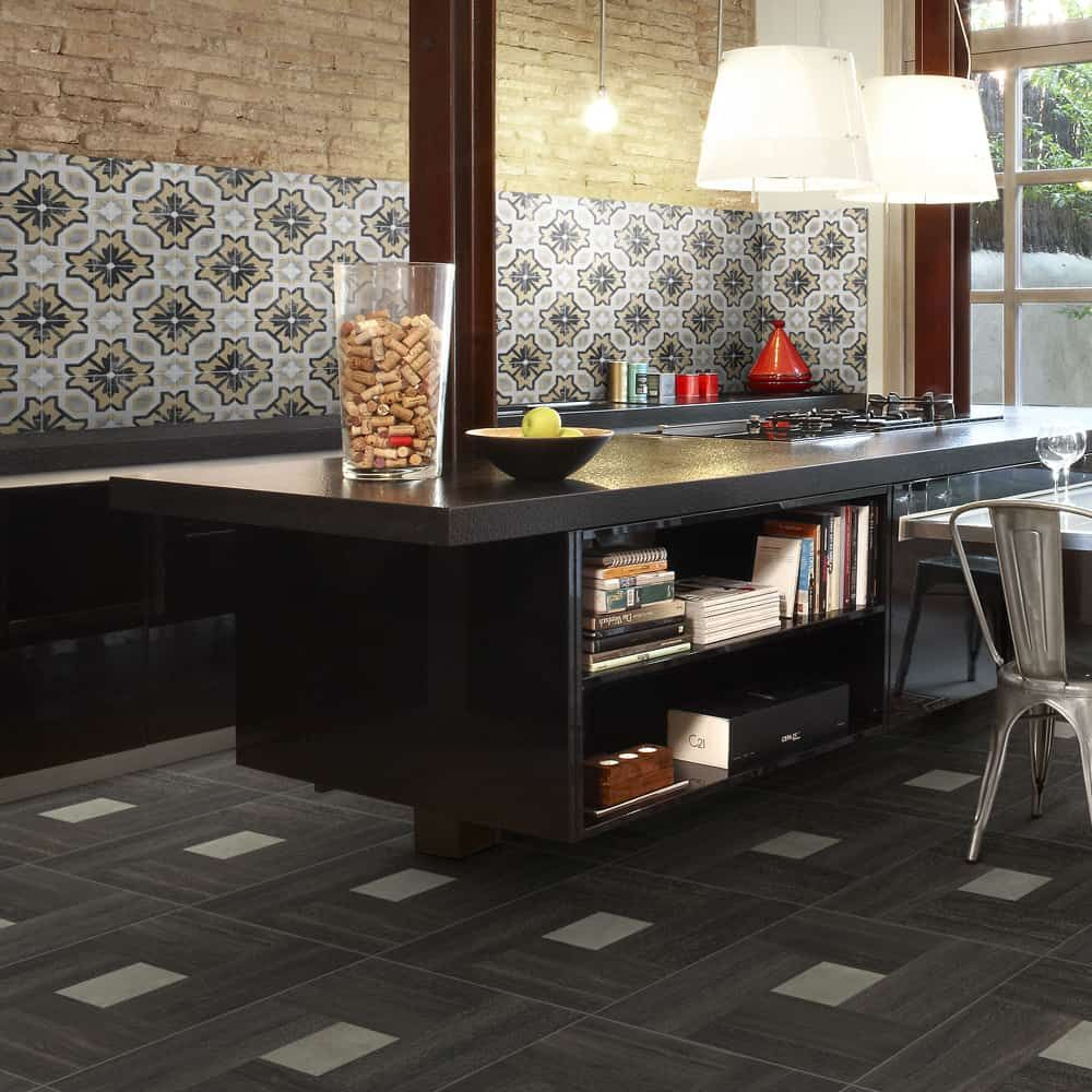 32 Stylish Dining Room Ideas To Impress Your Dinner Guests: Cementine Porcelain Deco Tile