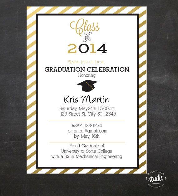 custom printable graduation invitation stripes chalkboard style