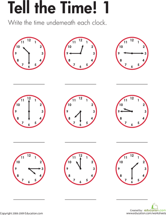 Tell The Time 1 Worksheet Education Com Time Worksheets Clock Worksheets Learn To Tell Time