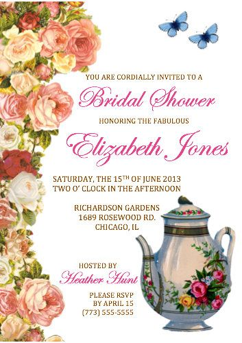 Bridal Shower Invitation - Set of 20 - Vintage Tea Party Invitations by TheTrendySparrow, $30.00