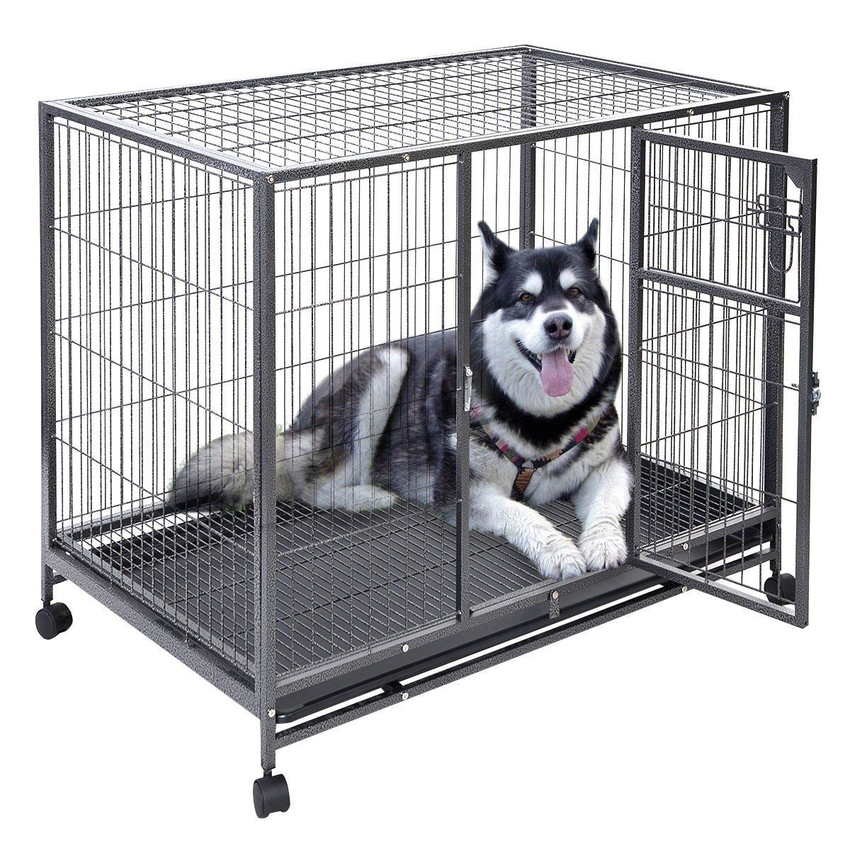Apontus Heavy Duty Dog Cage With Tray Pan 44 X 29 X 37