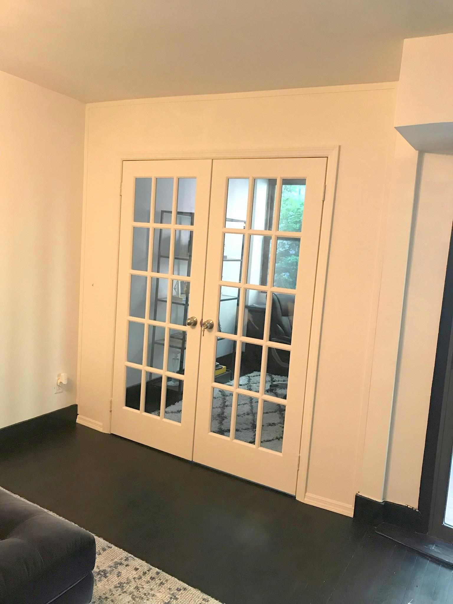 Seamless finish temporary wall with double French doors. Call us for ...