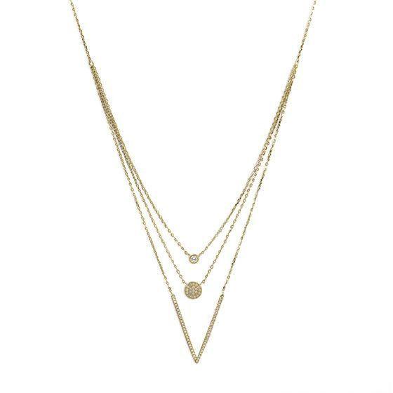 Triple Strand Geometric CZ Necklace