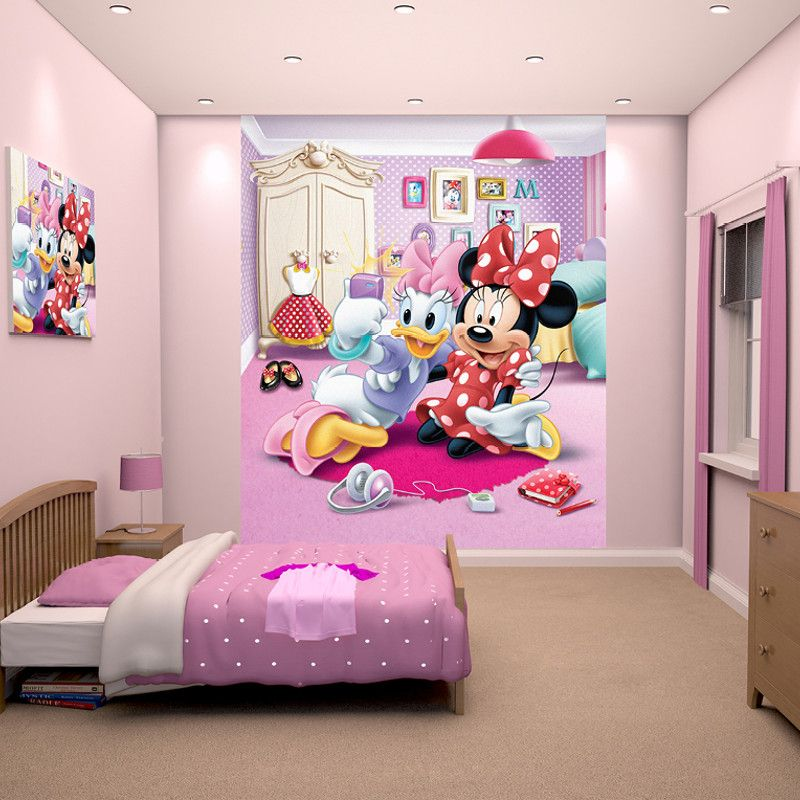 Walltastic disney minnie mouse wallpaper mural http for Disney wall mural uk