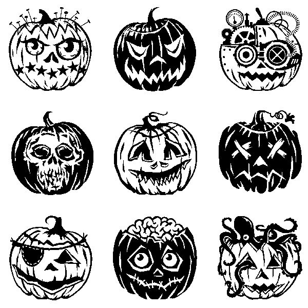 Inkadinkado | Pumpkin Faces Inchies Clear Stamps