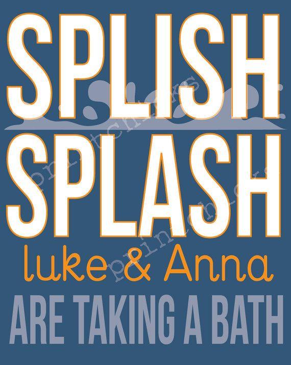 Bathroom Decor Personalized Splish Splash Bathroom by PrintChicks, $14.00