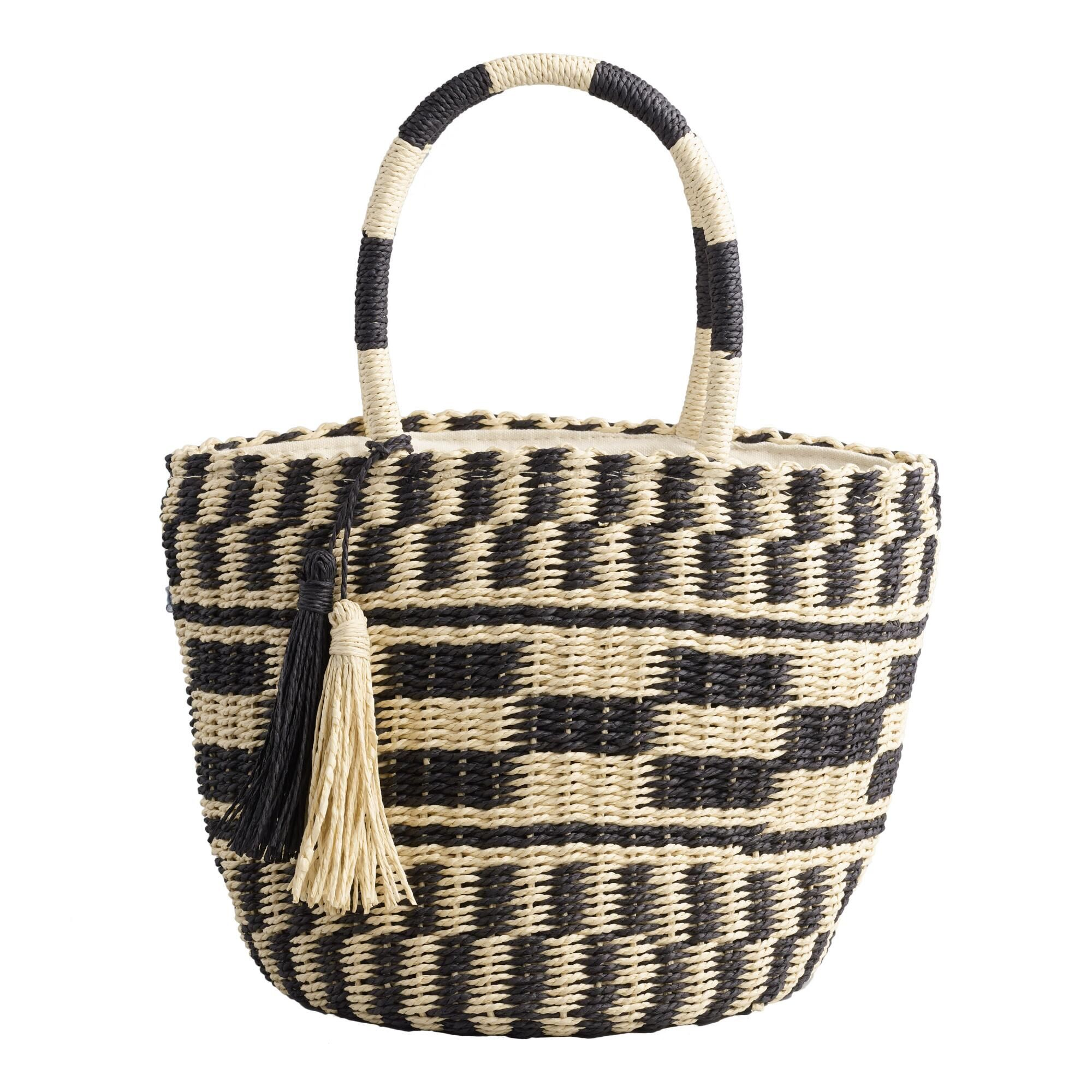 2e4ad9fd582 Tan and Black Checkered Straw Tote Bag by World Market   Products in ...