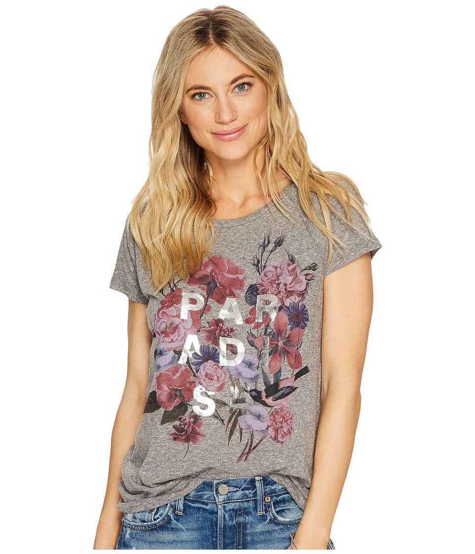 e57f0494d7e Lucky Brand Paradise Flowers Tee Women's T Shirt Charcoal Heather ...