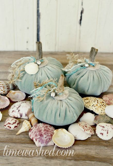 Velvet pumpkins with embellishments hang seashell around for Pumpkin stems for crafts