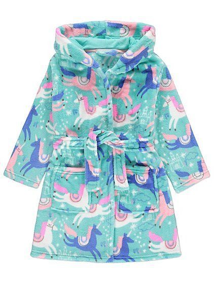 8482af5be Girls Unicorn Dressing Gown Fleece Hooded Dressing Gown Robe Age s 2 ...