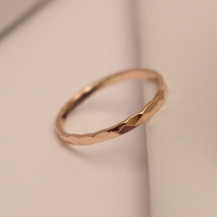 Handmade Thin Band Ring in 14k Yellow Gold Fill to Wear Alone or Stacked Wedding Ring Unisex Jewelry
