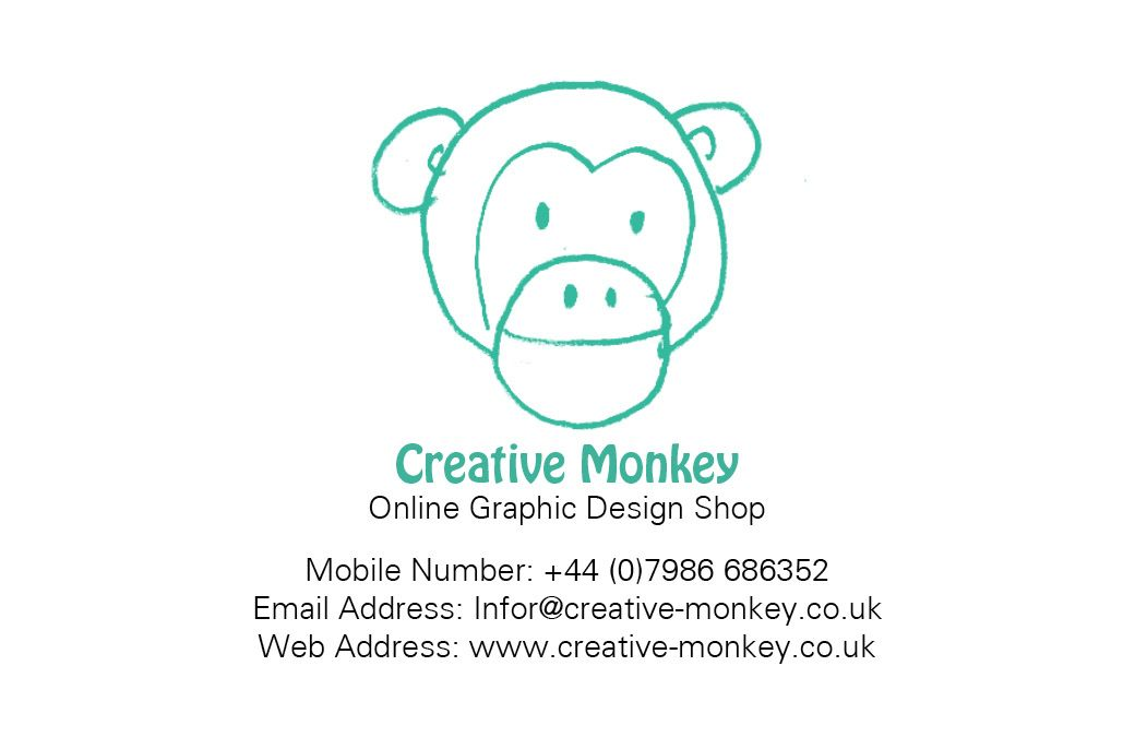 Creative Monkey Shop Business Card (front) designed by me at Nic\'s ...