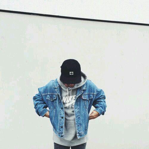 Denim jacket and grey hoodie combination