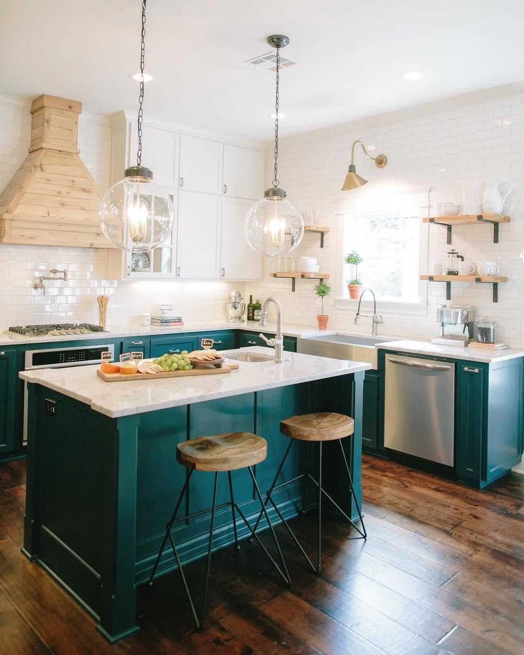 Designers Are Loving This Color For Kitchen Cabinets Right Now Dark Teal Cabinets Diykitchenisland Kitchen Remodel Home Kitchens Teal Kitchen Cabinets