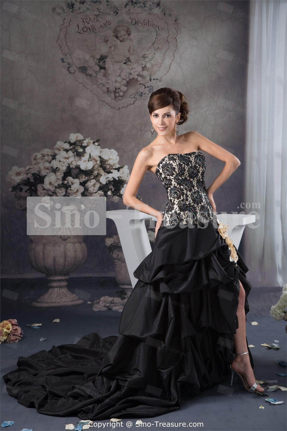 Black court train taffeta strapless petite prom dress dresses