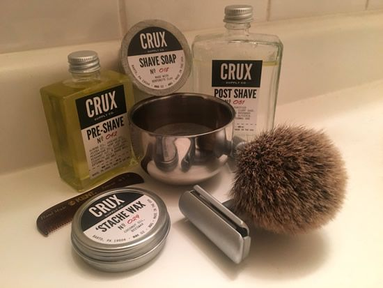 crux pre shave no 042 crux shave soap no 018 in a crux stainless