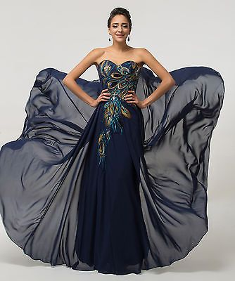 78b8e0253796 Vintage 50s Long/Short Peacock Dresses Prom Formal Evening Party Gowns PLUS  SIZE