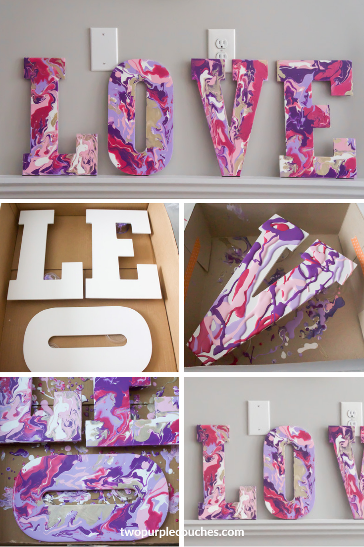 Paint Pour L-O-V-E Letters - two purple couches