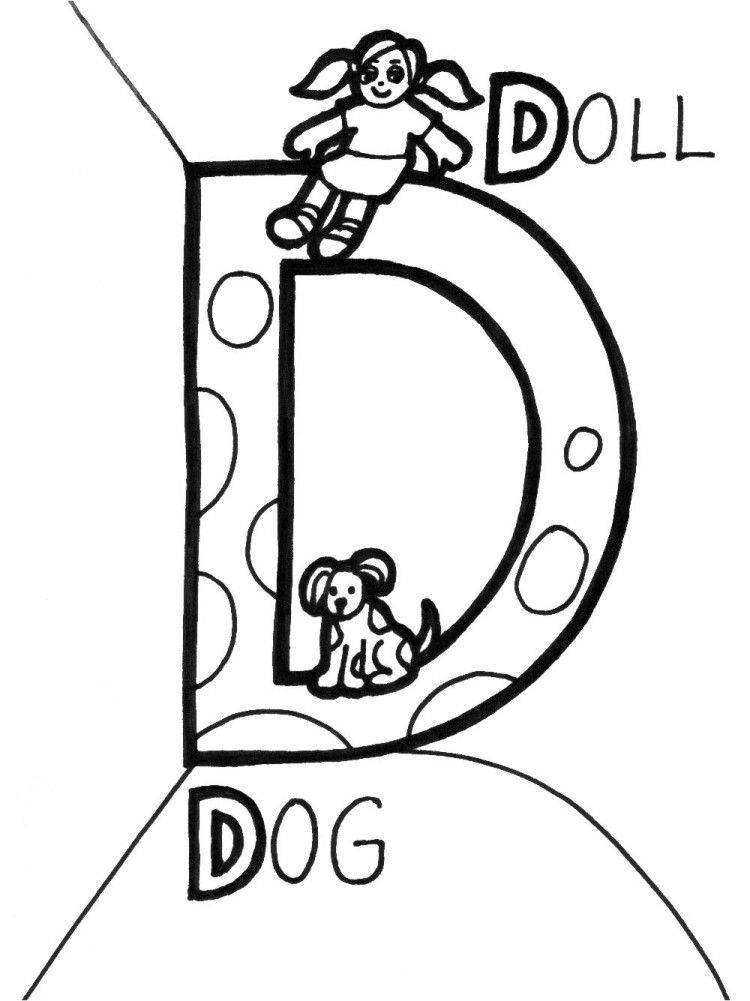 D For Doll And Dog Coloring Pages Dog Coloring Page Alphabet