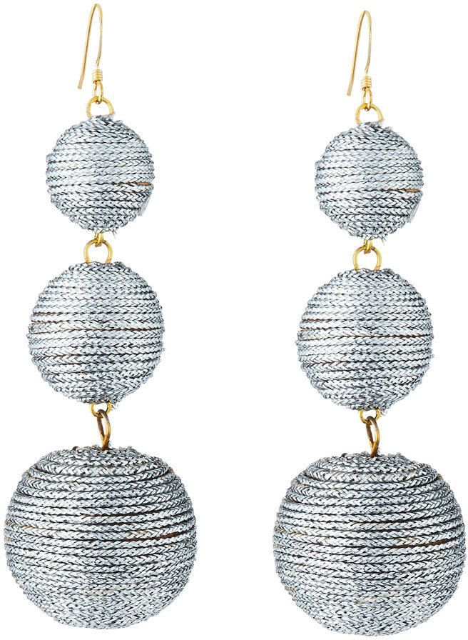 Kenneth Jay Lane Beaded Three-Drop Ball Earrings 1pUdNC