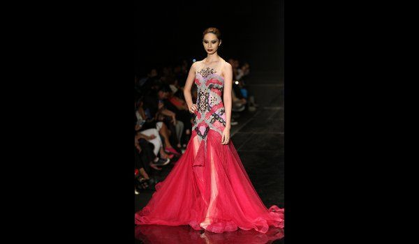 Woah, Philipp Tampus from Philippines Fashion Week... that's some kind of dress.  Nice use of color!