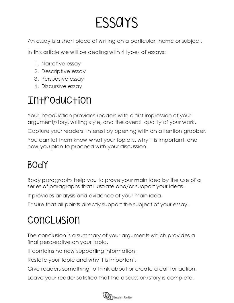 Writing Guide For Essays English Unite Guided Writing Essay Writing Types Of Essay