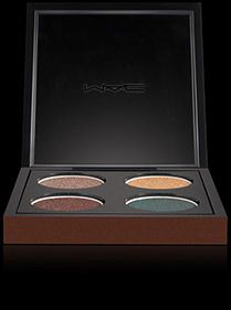 I am loving this color palette from Mac. Add a little water to an angled brush and use the green as a liner too...looks almost like black liner until the light hits it at an angle and shimmers dark green!