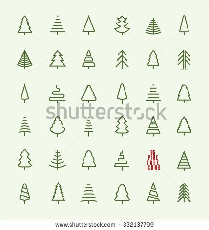 Thin Line Pine Tree Icon Set A Collection Of 35 Christmas Tree Line Icon Designs On Light Background Tree Drawing Simple Pine Tree Drawing Tree Drawing