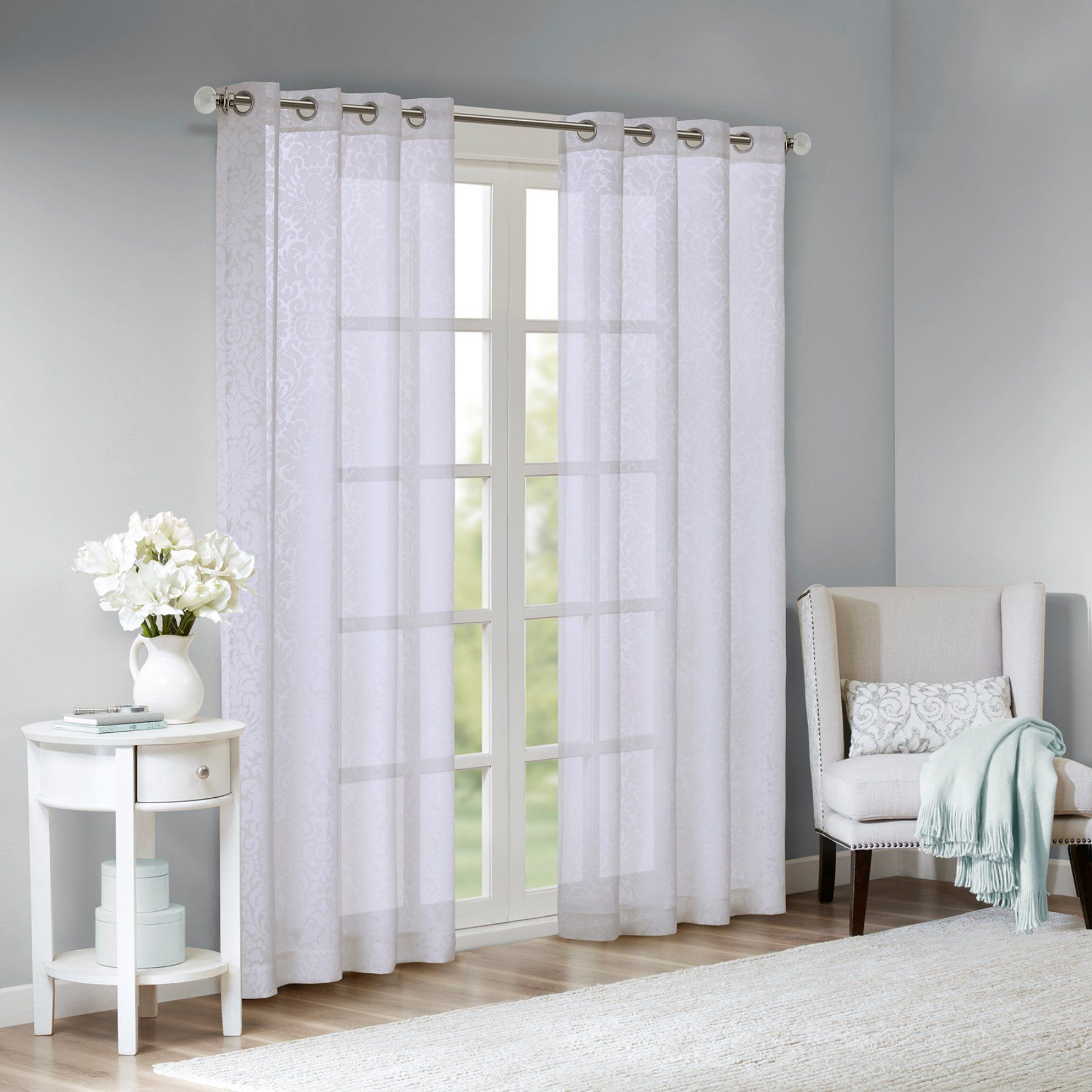 Madison Park Edwin Damask Burnout Sheer Grommet Curtain Panel