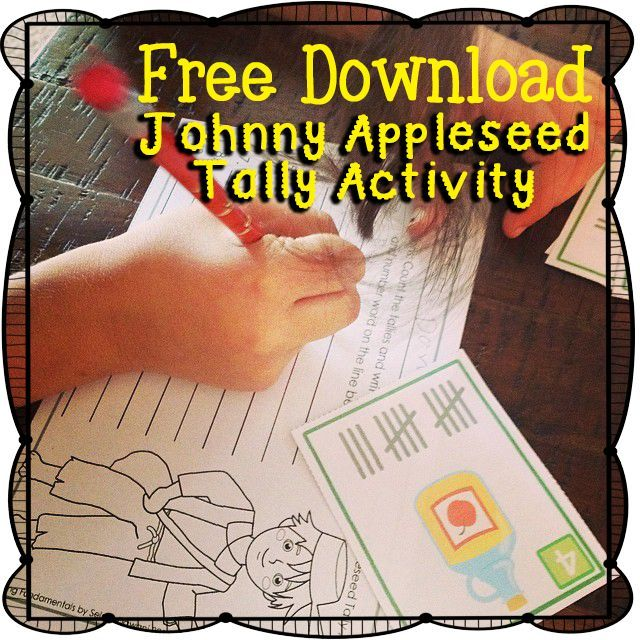 Johnny Appleseed Tally Activity Cards and Recording Form
