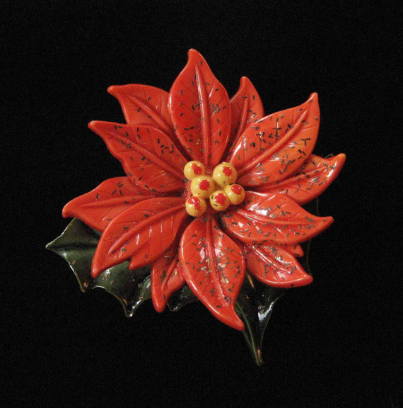 Celluloid Poinsettia Brooch Vintage Christmas by Elsewind on Etsy